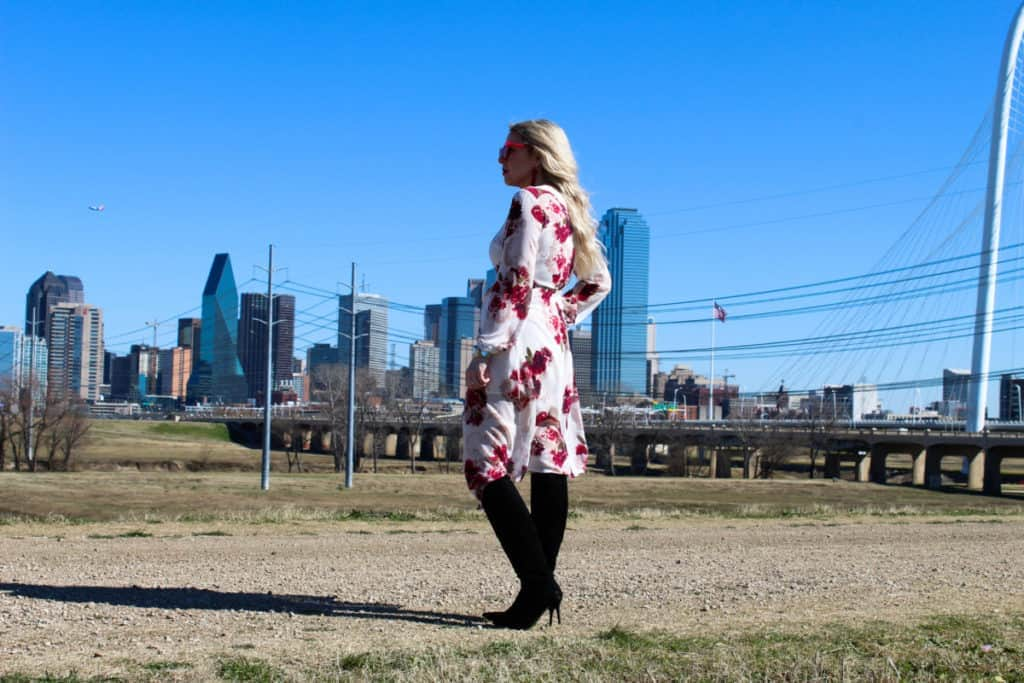 white and red Valentine's Day outfit with downtown Dallas