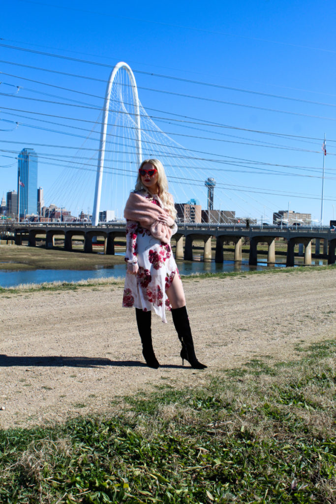 white and red Valentine's Day outfit with view of downtown Dallas